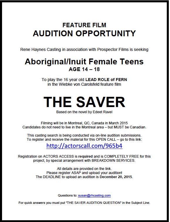 Audition materials can be found: http://actorscall.com/965b4